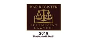 Bar-Register preeminent lawyer 2019 badge